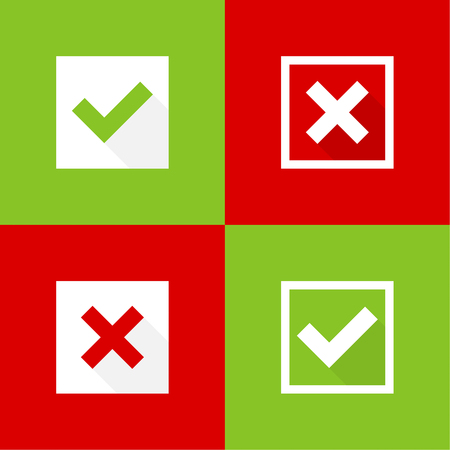 x marks: Set of vector buttons with check marks, ticks, x. checkbox. Web and mobile applications.confirmation, acceptance positive passed voting agreement true and form of access denial, refusing. red, green Illustration