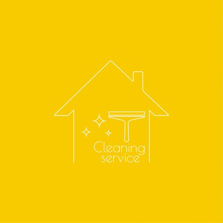 scraper: Vector with clean house with scraper for washing windows. Icon cleaning services.  Linear icon. Thin line. The concept of home cleaning and cleanliness.