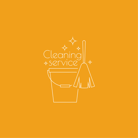 cleanliness: cleaning service with broom and bucket. Linear icon. Thin line. The concept of home cleaning and cleanliness.  cleaning service. Illustration