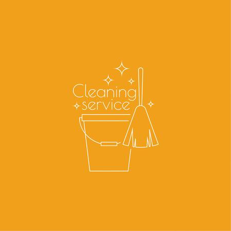 aseo: servicio de limpieza con la escoba y un cubo. icono lineal. Linea fina. El concepto de limpieza para el hogar y la limpieza. servicio de limpieza.