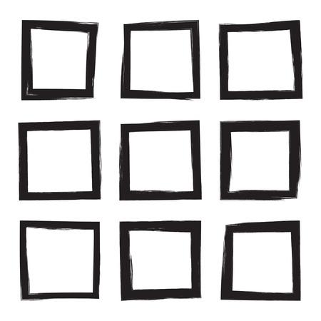 手描きの正方形、写真、フォト フレームを設定します。黒の塗抹標本からテキスト ボックスです。ベクトル黒のストロークの境界線