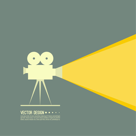 cinematograph: Movie projector vector illustration.  Cinematic Old  camera with reel. Linear icon. For annonce films. vintage poster. Illustration