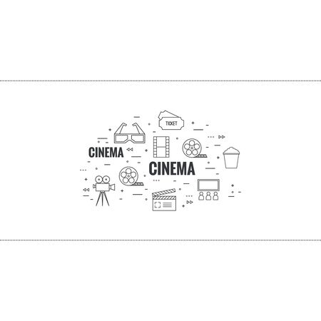 cinematograph: Abstract background with popcorn,  camera, film reel, clapboard, 3D glasses and  tickets. The concept of cinema and watching  movie. Layout, flyer, poster for announcement. thin line.