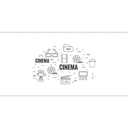 schöpfung: Zusammenfassung Hintergrund mit Popcorn, Kamera, Filmrolle, Schindel, 3D-Brille und Tickets. Das Konzept des Kinos und beobachten Film. Layout, Flyer, Plakat für die Ankündigung. dünne Linie.