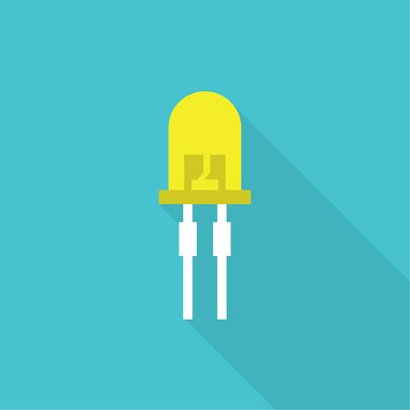 Vector illustration of light-emitting diode.  LED energy saving bulb. The trace element of the electronic device. Icon with long shadow. Flat design. Illustration