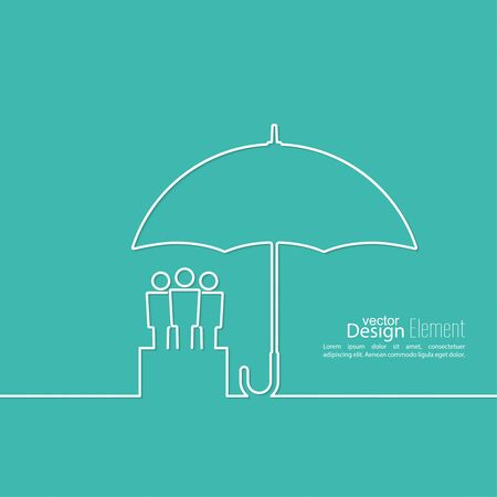 community group: Group of people under protection of umbrella. The concept of social networking, teamwork, union, community, fellowship. Outline. minimal Illustration