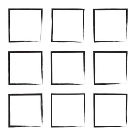 emphasis: Set hand drawn square, photo, foto frame. Text box from black smears. Vector Black stroke border felt-tip pen objects. Illustration