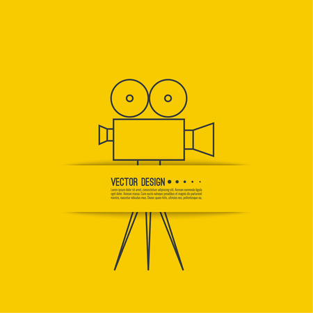 film: Movie projector vector illustration.  Cinematic Old  camera with reel. Linear icon. For annonce films. vintage poster. Illustration