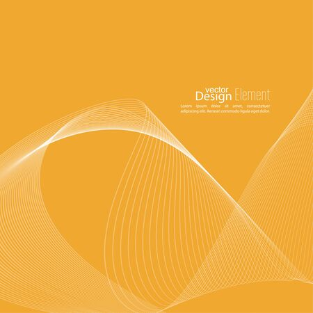 flux: Abstract techno background with lines in waves. Flow popular form vector. Futuristic high tech design for scientific cover book, brochure, flyer, poster, magazine, website. yellow