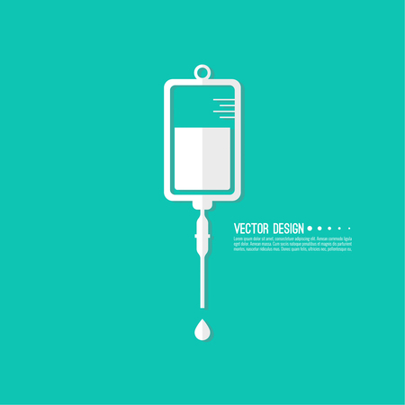 chemotherapy: Vector iv bag icon. Saline symbol on background.  The concept of treatment and therapy, chemotherapy. Modern  flat design