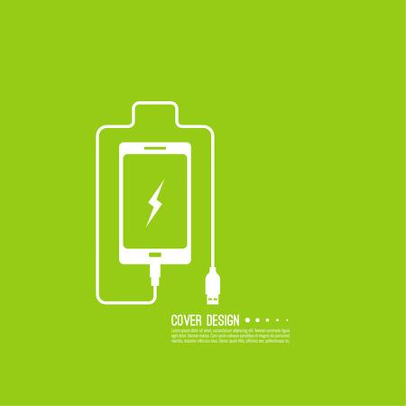 Résumé de fond avec les téléphones mobiles de charge. câble USB est connecté au smartphone. La charge concept de puissance. Vecteur. Batterie