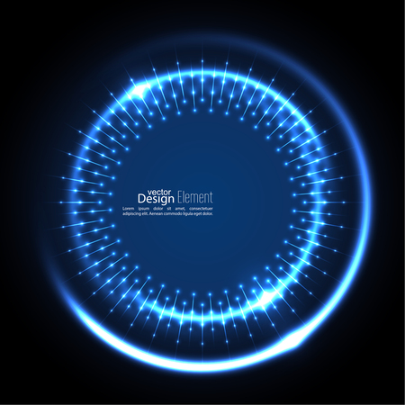 ultramarine blue: Abstract techno background with spirals and rays with glowing particles. Tech design. Lights vector frame. Glowing dots.  blue, cerulean, cobalt, indigo, sapphire, ultramarine