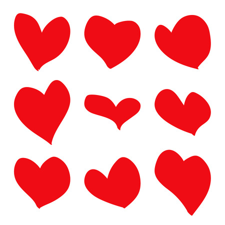 hand drawn red hearts Illustration