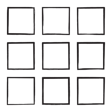 Set hand drawn square. Illustration