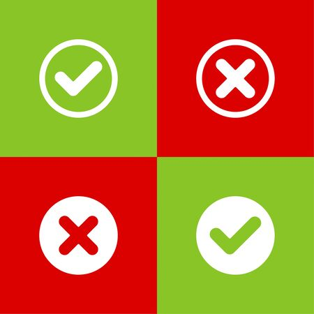 Set of vector buttons with check marks, ticks, x. checkbox. Web and mobile applications.confirmation, acceptance positive passed voting agreement true and form of access denial, refusing. red, green Illustration
