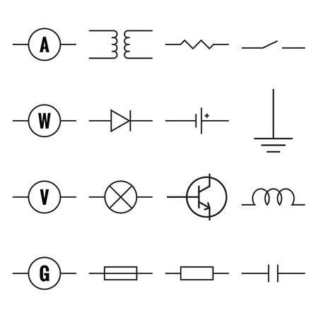 Collection Of Blueprint Electronic Circuit Symbols Royalty Free ...