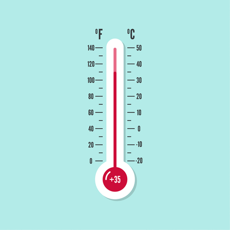 coldness: meteorology thermometer with Celsius, Fahrenheit Illustration