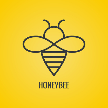 Vector icon honey bees. Illustration