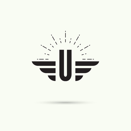 quickness: Elegant dynamic alphabet letters with wings. Monogram wing logo mockup. Creative design element. Corporate branding identity. Vector template. Letter u. Illustration