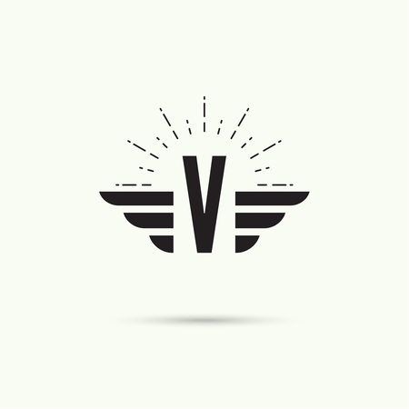 quickness: Elegant dynamic alphabet letters with wings. Monogram wing logo mockup. Creative design element. Corporate branding identity. Vector template. Letter v.