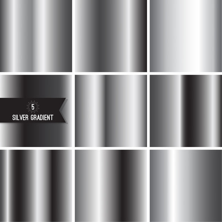 metalic design: Set of silver foil texture Illustration