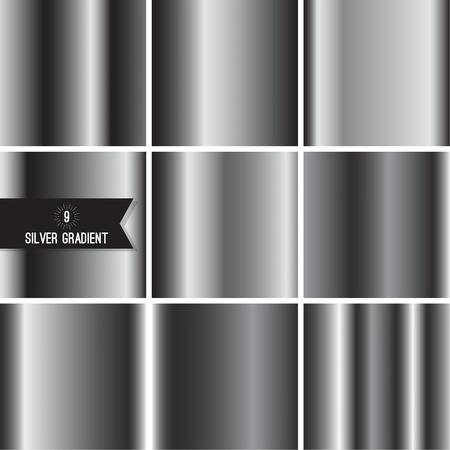 Set of silver foil texture vector illustration.
