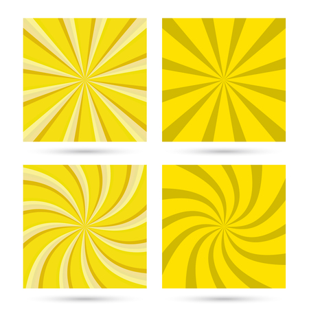 Set of sunburst and swirl in yellow color. Illustration