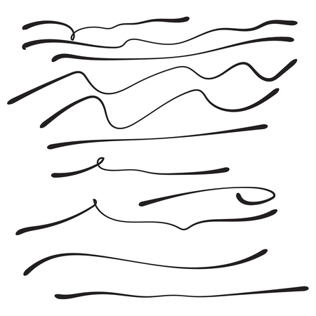 Vector set of hand drawn lines. Illustration