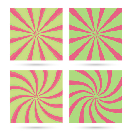 Set of sunburst and swirl radial pattern backgrounds. Colorful, bright twirl rays. Vibrant beams. vector