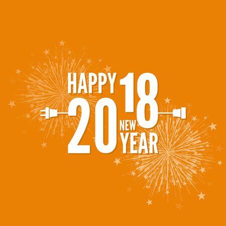 Verbindung zum neuen Jahr 2018. kreativer guten Rutsch ins Neue Jahr-Design. Flache Bauform mit Schatten. Skizzieren. Stecker mit Steckdose und Feuerwerk. Vektor-Illustration.