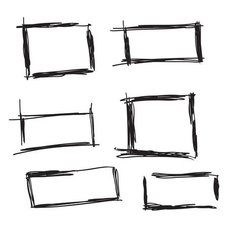 Set hand drawn rectangle. 일러스트