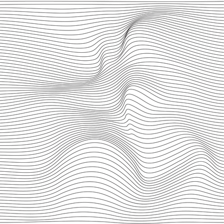 Distorted wave monochrome texture. Abstract dynamical rippled surface. Vector stripe  deformation background. Vettoriali