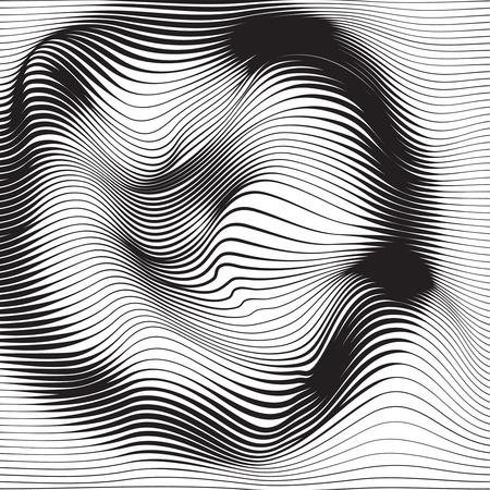 Textura monocromática de onda distorcida. Superfície ondulada dinâmica abstrata. Fundo de deformação de faixa de vetor. Efeito de falha de socorro. Ilustración de vector