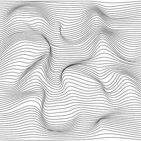 Distorted wave monochrome texture. Illustration