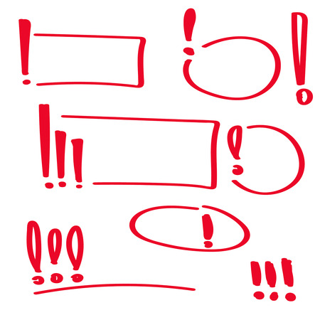 Set hand drawn Exclamation mark.