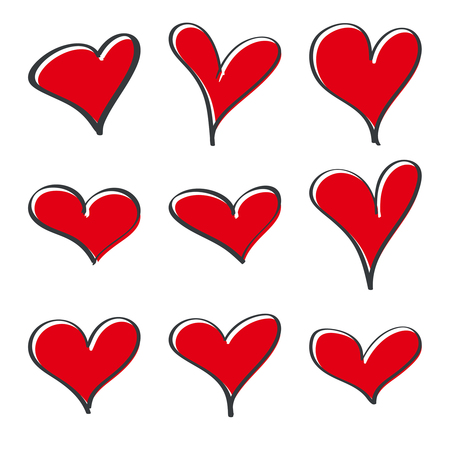 Modern vector heart set