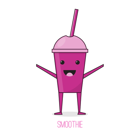 Cute cartoon fruit smoothie cup vector