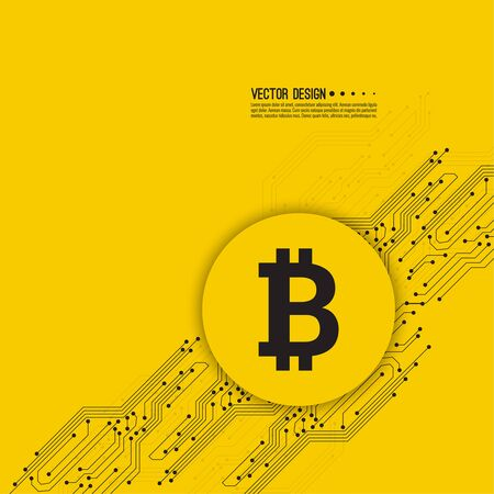 Abstract background with high tech circuit board texture. Crypto currency Bitcoin internet virtual money. Vector icon  bitcoin digital cryptocurrency. Blockchain based secure. Electronic motherboard. Illustration
