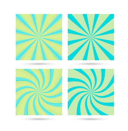 Set of sunburst and swirl illustration.