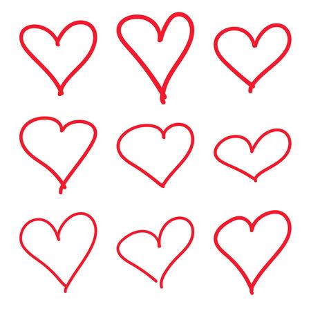 Set of Modern heart outline illustration.