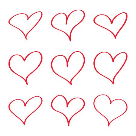 Satz der modernen Herzentwurfsillustration. Vektorgrafik