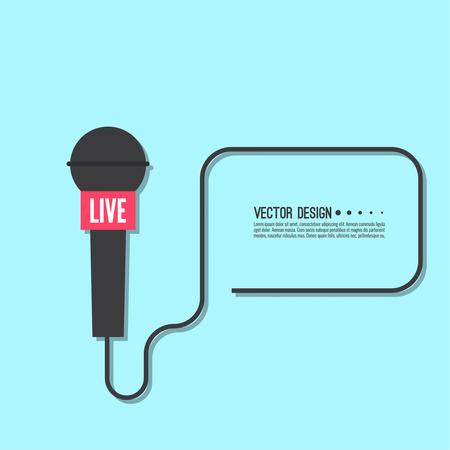 Journalistiek concept. Live nieuwssjabloon met microfoon. Symbool breaking news op tv en radio. Journalist, interview, verslaggever, pers, interviewer, massamedia, paparazzi, mic tekstvak Vector
