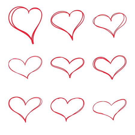 Modern vector set of hand drawn red hearts. scribble emblem like happy valentine day. Trendy style design illustration. isolated on white background. Trend collection.