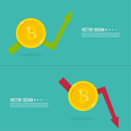 Exchange graphs indicating growth and a drop in prices and profits. Crypto currency Bitcoin internet virtual money. Vector illustration of  bitcoin digital cryptocurrency.