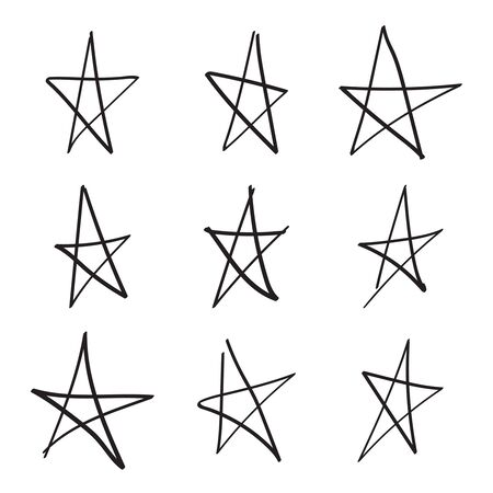 Set hand drawn star illustration on white background.