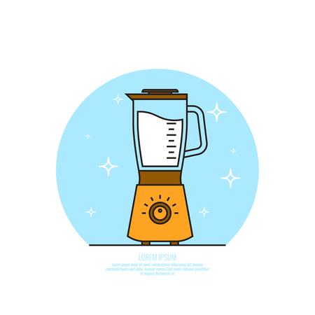 Electric kitchen appliance, blender illustration.