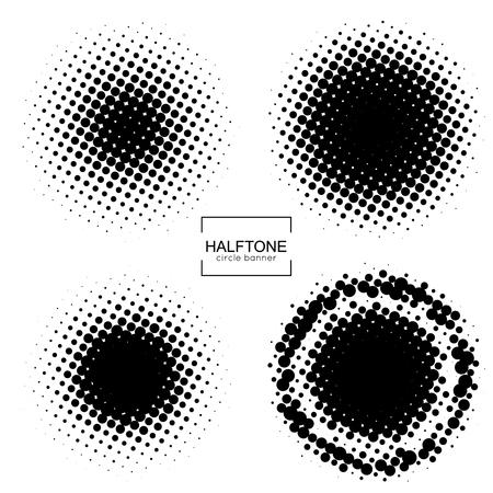 Halftone round banner vector.