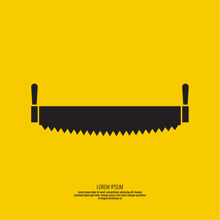 Two-handed saw vector icon. Object on a yellow background Illustration