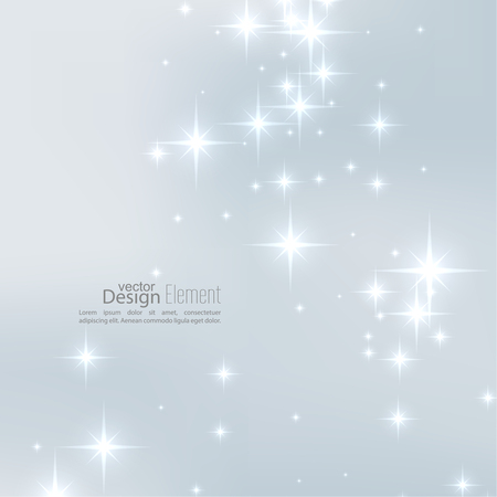 Abstract starry background, sparkle stars. Vector illustration with festive flares. Template decorations for Merry Christmas, New Year, anniversaries, birthday, xmas, glamour holiday, celebration.
