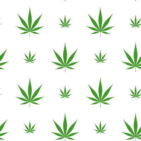 Vector seamless pattern with marijuana leaf, cannabis.